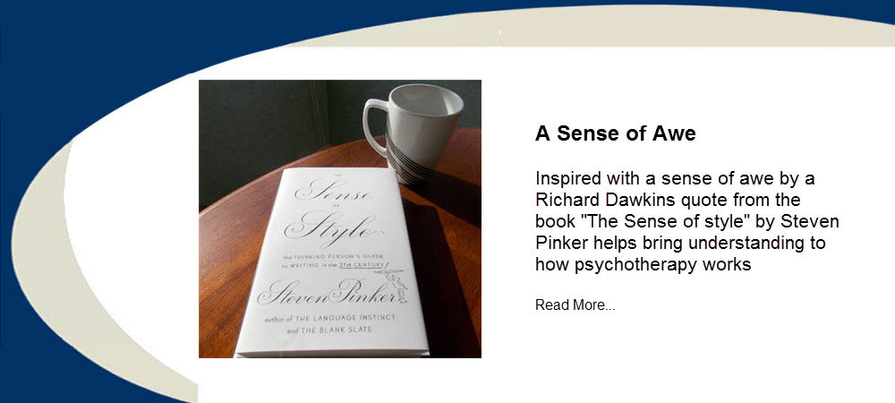 "Inspired with a sense of awe by a Richard Dawkins quote from the book ""The Sense of style"" by Steven Pinker helps bring understanding to how psychotherapy works. From Dr. Ross Grumet at Psychiatry Atlanta"